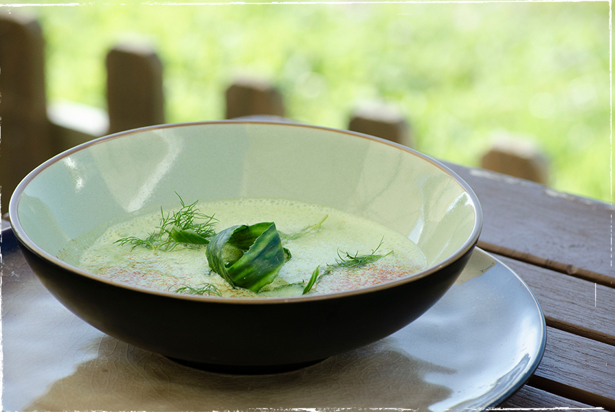 Cold cucumber soup with sheep´s milk yoghurt