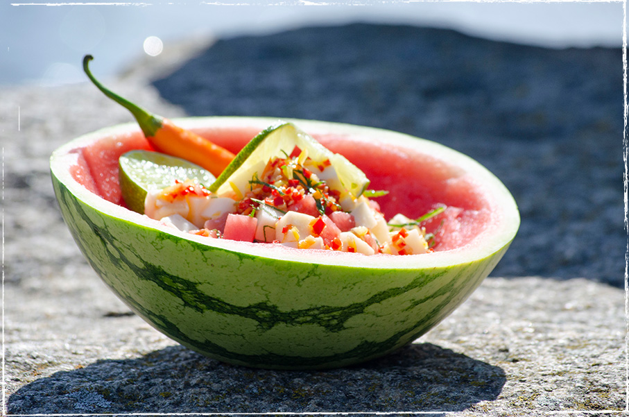 Watermelon salad with brine-ripened sheep´s milk cheese and mint