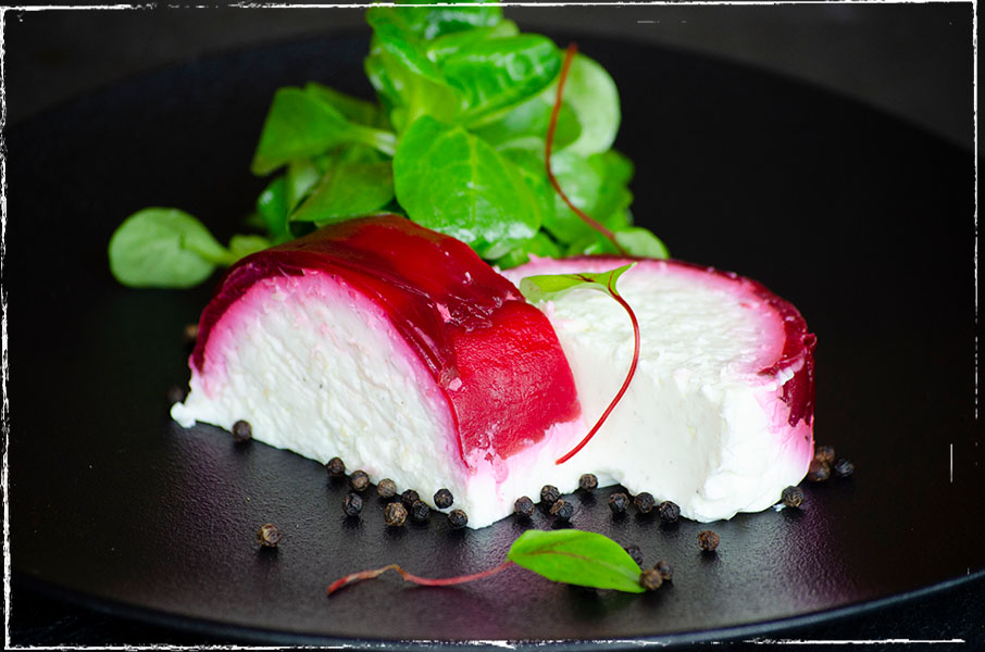 Horseradish and sheep's milk terrine with beetroot and lamb's lettuce