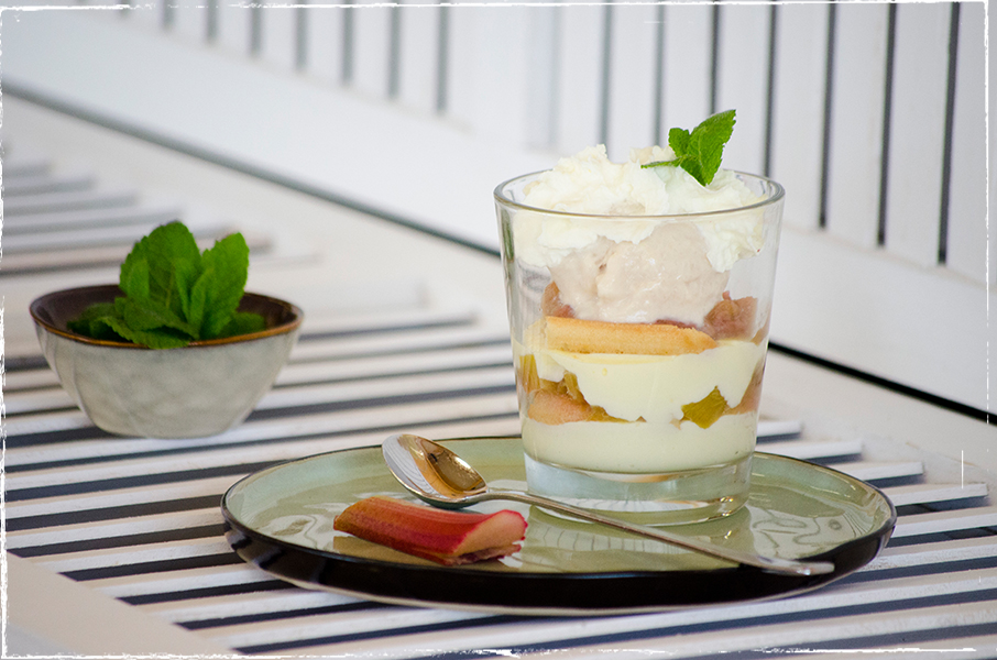 Rhubarb layer dessert with mint