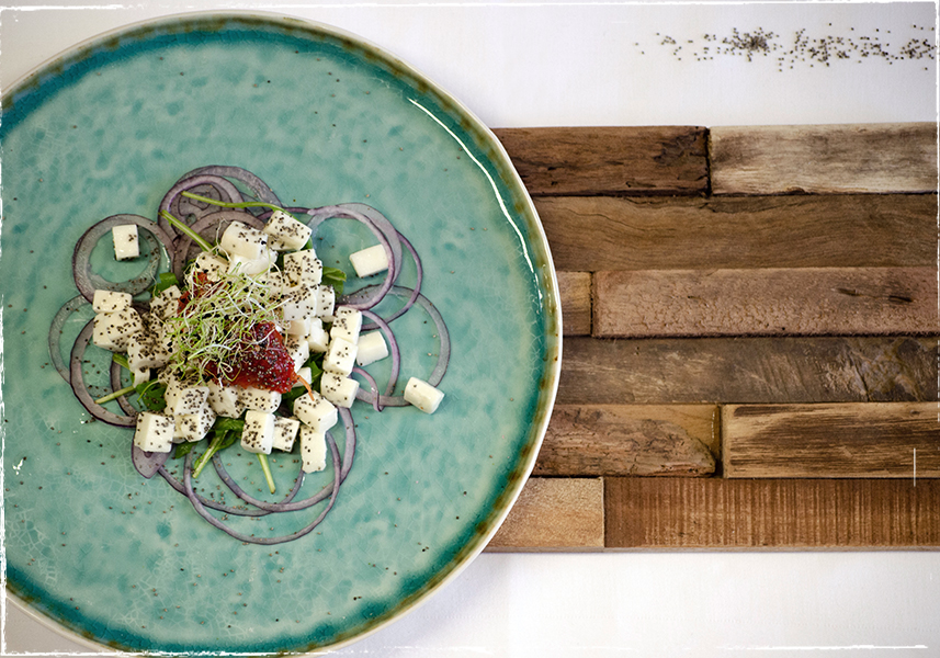 Waldviertler goat´s milk cheese salad with poppy seeds and peppersweet chutney