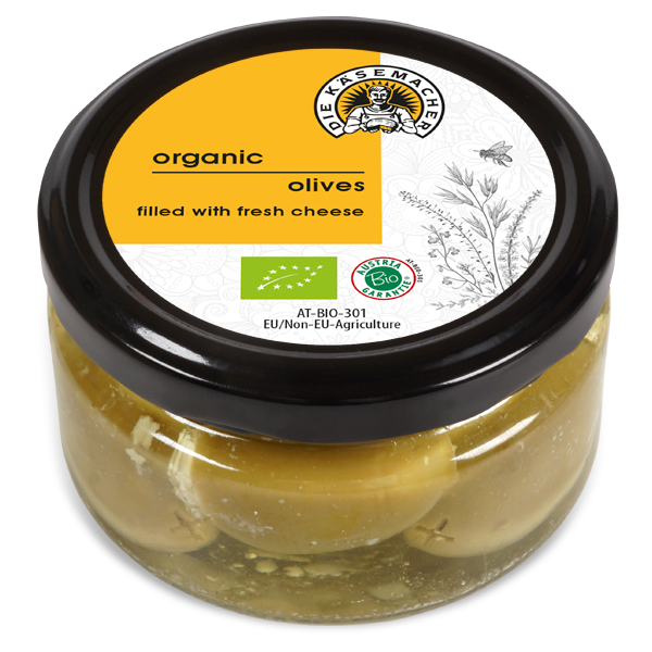 Organic olives filled with fresh cheese