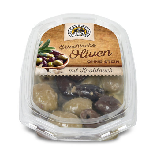 Pitted Greek olives with garlic
