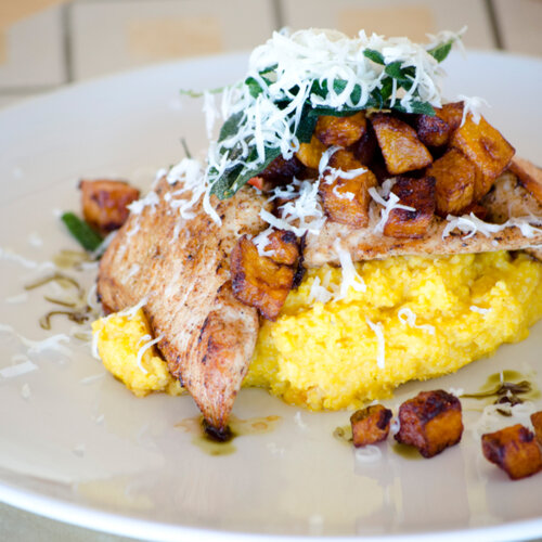 Turkey fillet with sweet potato polenta and Waldviertler smoked cheese